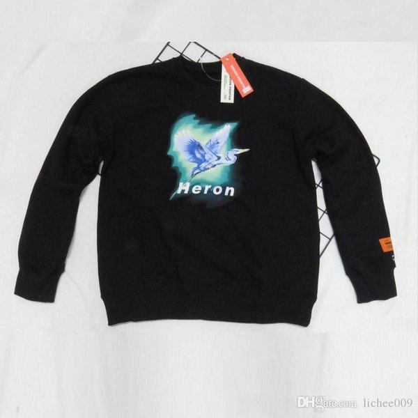 19FW high quality HERON PRESTON Russian embroidery crane letter printing student couple round neck sweater wholesale