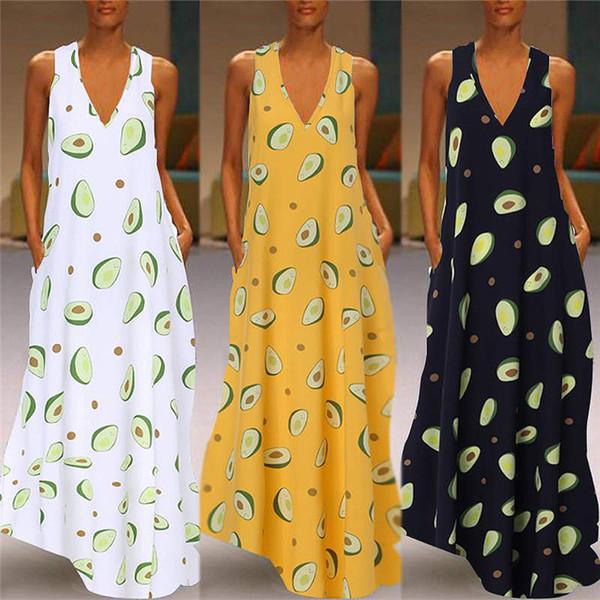 Bayan Tasarımcı Elbise kolsuz etek Casual Kadınlar Uzun Elbiseler V Yaka baskı Elbiseler uzun seksi Elbiseler bayan giyim klw2021