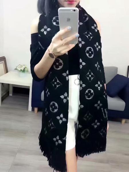 Sciarpa in cashmere con marchio di alta qualità per donne Sciarpe lunghe con scialli in argento con scialli Tag con scialli 180x40cm RT0050
