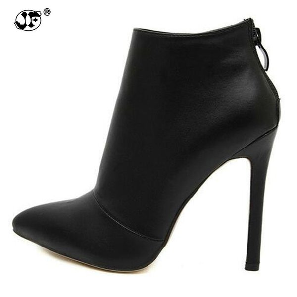 Black Women Red Wedding Shoes Back Zipper Pointed Toe High Heel Boots Shoes Woman Ankle Boots Size 889