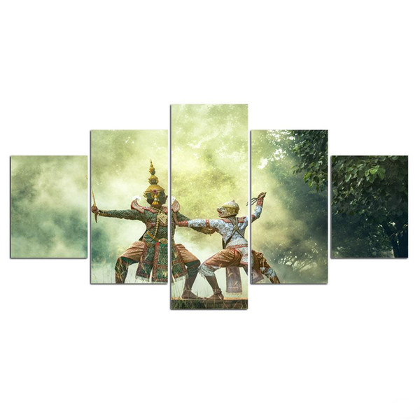 5 Pcs Cambodian Tradition Buddha Religion HD Printed Canvas Prints Painting Wall Pictures For Living Room Wall Art No Frame