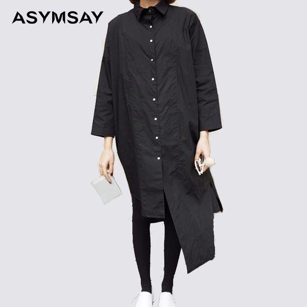 Womens White Shirts Black Long Back High Low Long Shirt Women Casual Cotton Linen Blouse Ladies Korean Style Blouse J190620