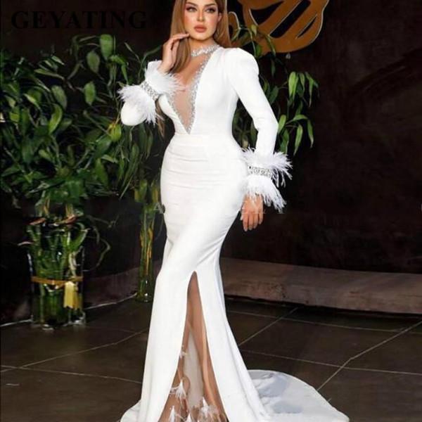 Parti Blanc Sirène Robe de cérémonie élégante femmes arabe robe de bal 2020 Arabie Saoudite Dubai Robes de soirée Manches longues plumes dames
