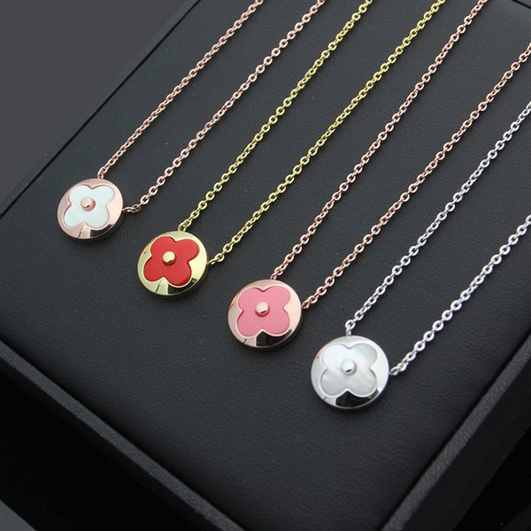 316L titanium steel Fashion Four-leaf flower shell pendant Necklace for Women's Titanium steel plating Rose Gold letter Necklace Jewelry