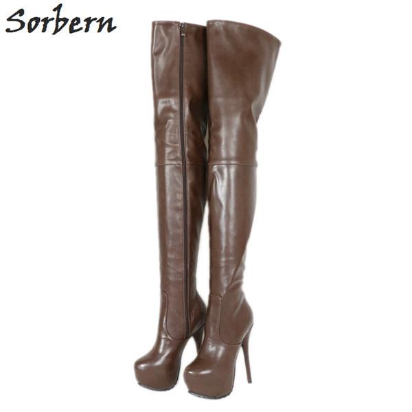 Tiefe kaffee stiefel frauen über knie med oberschenkel hohe damen boot plattform high heel benutzerdefinierte lange beinlänge und breites kalb