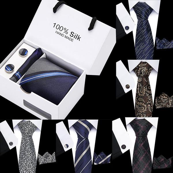 Cravates classique à rayures hommes Plaid cravate bleu jacquard tissé 100% Tie Cravates de soie de soirée de mariage hommes