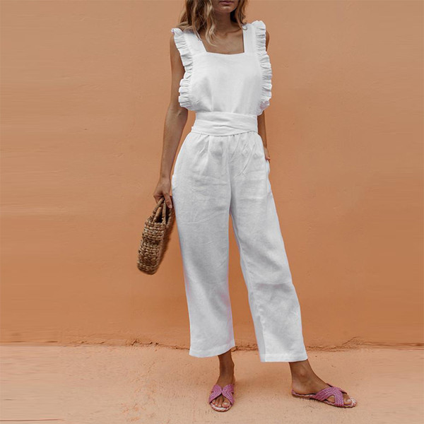 Summer Casual Rompers Womens Jumpsuit Solid Ruffle Slim Overalls Bandage Backless Long Pants Women Jumpsuit Salopette Femme MX190726