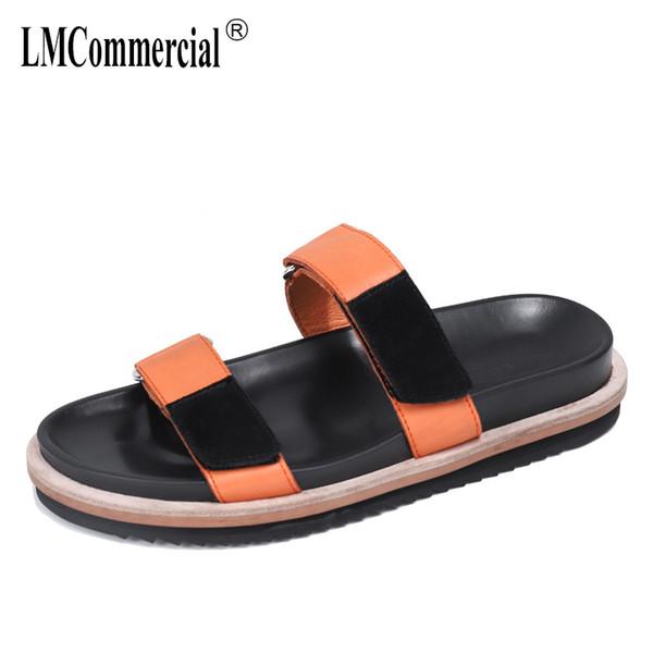 Yaz kaymaz plaj eğlence moda erkek sandalet terlik nefes gerçek deri çamurluk yaz erkekler hakiki deri