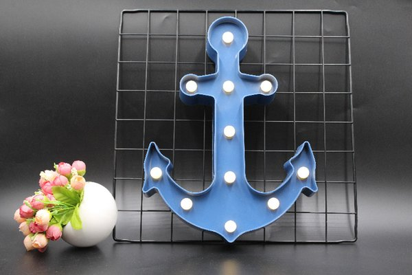 LED Navy Anchor Shape Night Light Dark Blue Pirate Sailor LED Lamp Marquee Sign Home Decorative Bedroom Wall Nightlight 2020