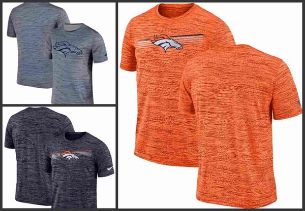 Denver Broncos Hommes Gris à rayures noires Performance T-shirt