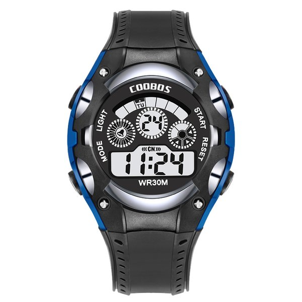 Coobos Sport Watch For Men Women LED Analog Digital Silicone Watches Students Waterproof Multifunction Electronic Luminous Watches