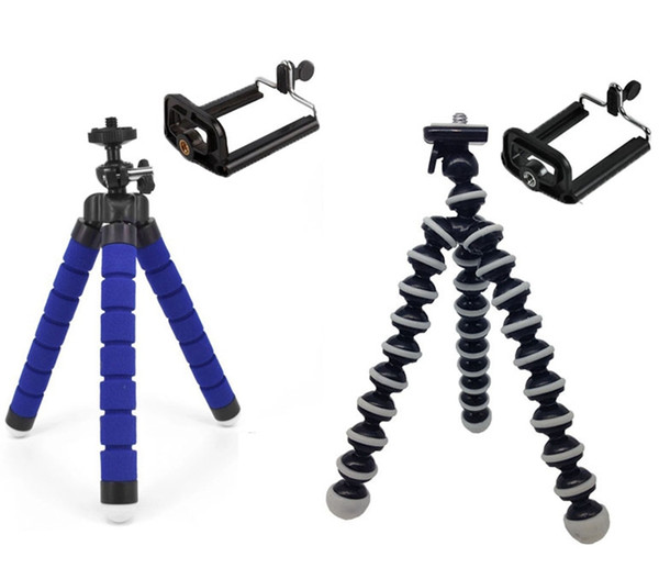2 Styles Mini Size Flexible Sponge Octopus Tripod Stand Bracket Holder For Mobile Phone Action Camera with Clip Mount for iPhone Samsung