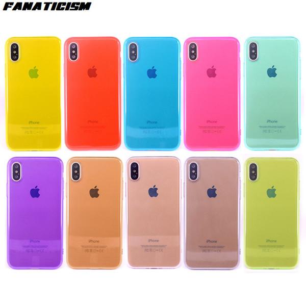 Bonbons couleur brillant TPU clair téléphone cas pour iphone XR X XS Max 5 SE 6 7 8 plus couverture en silicone souple