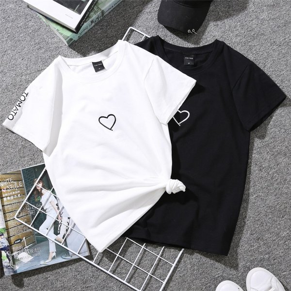 2019 Estate Coppie Amanti T-Shirt per Lady Student Casual Bianco Tops Donna T Shirt Love Heart Ricamo Stampa Tshirt Donna