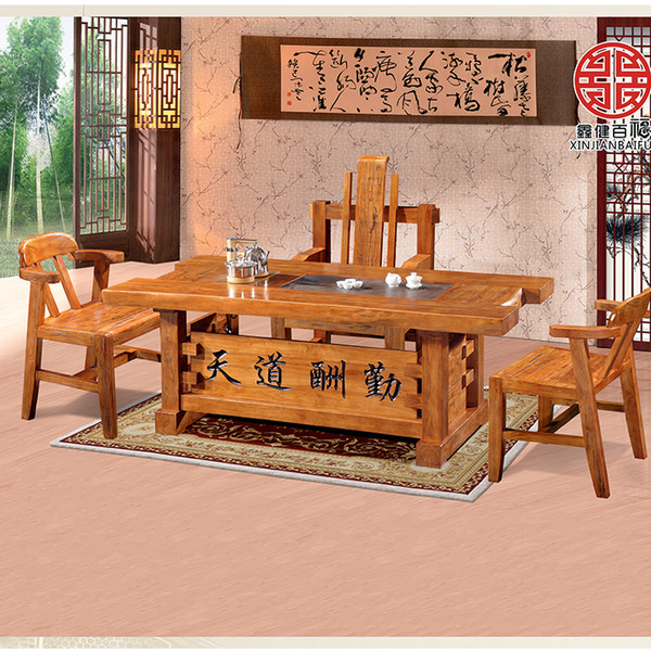 2019 Old Elm Boss Tea Table Main Chair Armchair Korean Solid Wood Dining  Table And Chairs Simple Modern Master Chair From Shuimujiaju, $653.27 | ...