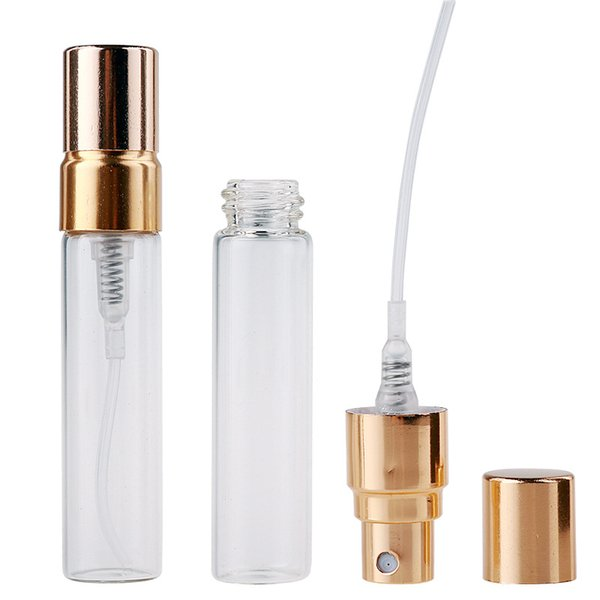 5ML Empty Clear Glass Spray Bottles Refillable Atomizer Perfume Bottle Cosmetic Packaging Travel Container DHL 500pcs