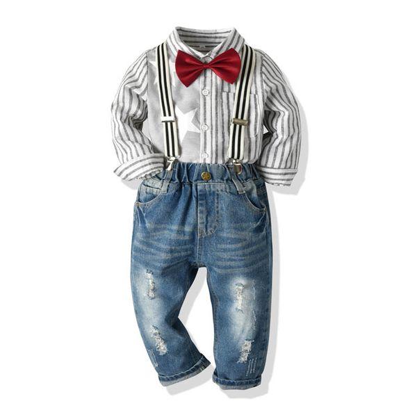 Ins meninos ternos crianças roupas de grife conjuntos de meninos tarja camisa de manga longa + suspender calças jeans meninos roupas de grife roupas infantis A6882