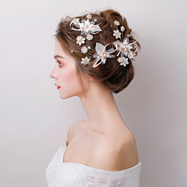 5pcs/set Flower Barrettes Princess Bridal Wedding Headdress Hair Clip Yarn Floral Headwear Ornament Girls Christmas Hairpin Gift