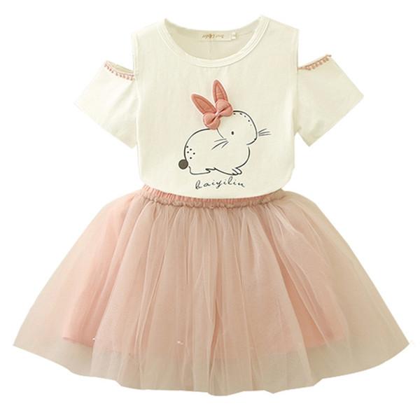 2pcs / lot Easter Bunny Set Neonate del coniglio del fumetto floreale manica corta Top + Pearl Tutu Dress Abbigliamento per bambini Suit