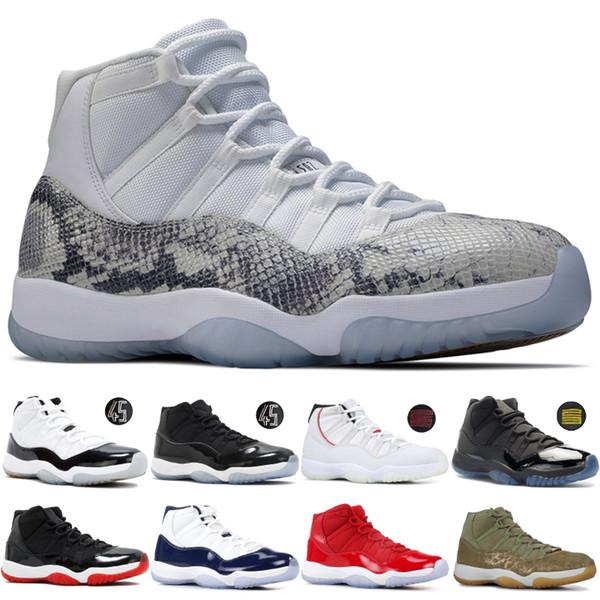 Nike Air Jordan Retro 11 11s Ovo Snake Piece Light Bone Low Pink Scarpe da basket per uomo 72-10 Bred Concord 45 Gamma Blue Green Sport sneakers