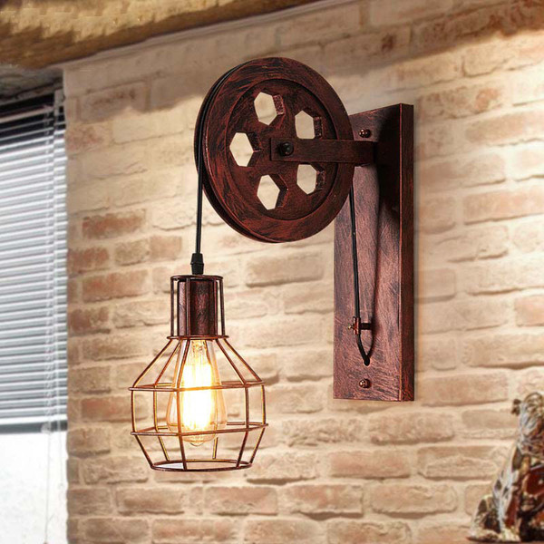 Loft Retro Pulley Lamp Wall Mount Lamp Light Iron Industrial Style Bedroom Living Room Restaurant Aisle Pub Cafe Light Sconce