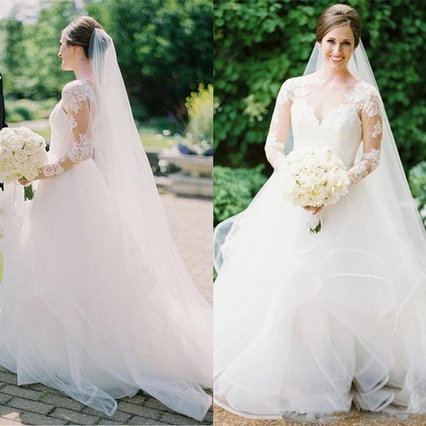 Vintage Long Sleeve Wedding Dress Country A-Line Tulle Wedding Gowns Vestidos De Novia 2019 Lace Backless Cheap Bridal Dresses Plus Size