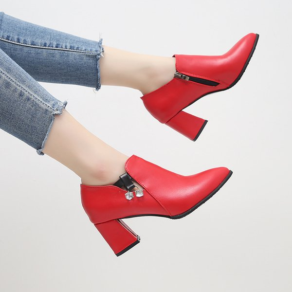 spring and autumn new style Single shoes with chunky heels Pure color design simple and elegant Temperament joker 2colour
