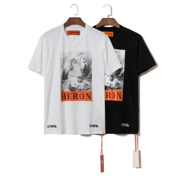 Heron Preston Erkek Tasarımcı T Shirt Erkek Kadın Sokak Lüks Pamuk Tasarımcı Gömlek Casual Vinç Baskı Kısa Kollu T Gömlek 52