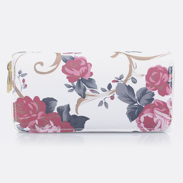 Vintage Long Brand Women Wallets Clutch Bag Ladies Double-pull Rose Pattern Wallet Female Leather Wallets For Purse Female