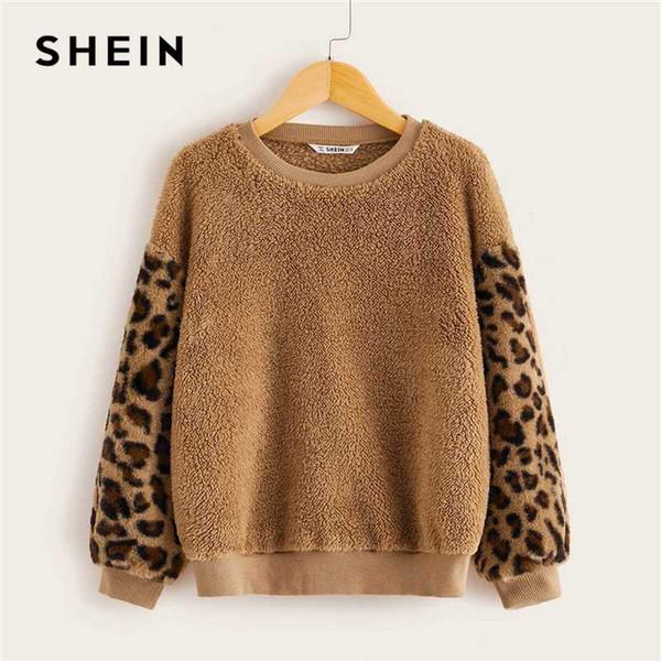 shein kiddie camel drop shoulder leopard sleeve teddy casual sweatshirt kids  2019 spring contrast faux fur winter pullover