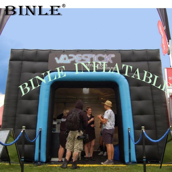 Portátil gigante ao ar livre preto tenda cubo inflável com portas tenda inflável para uso partido do evento