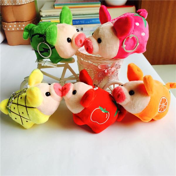 60PCS 13cm Stuffed Animals cute Plush fruit Pig Toys Kawaii Kids Birthday Gifts and as Car buckle/keychain/pendant AIJILE