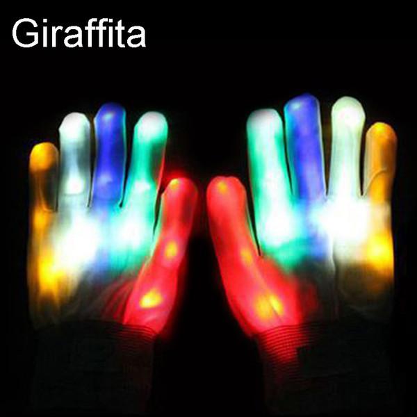 Creativo Full LED Finger Gloves luminoso lampeggiante illuminazione incandescenza nello scuro Mittens Guanti Festival di forniture Party Eventi raffreddano