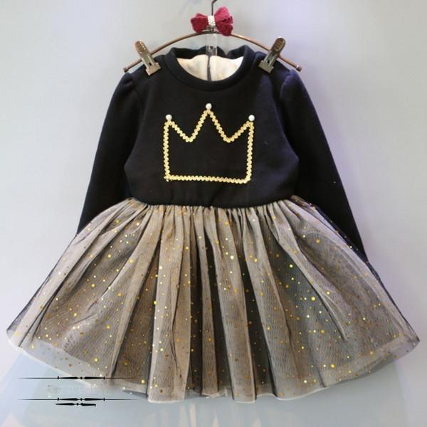 Abbigliamento per bambini Explosion Wholesale 2018 Winter New Crown Pearl Plus Velluto imbottito Dress Girl Tutu