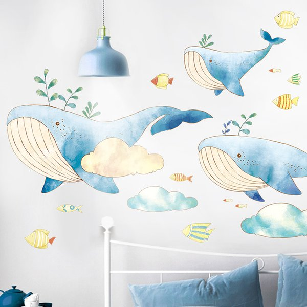 Small fresh lovely whale wall sticker baby bedside decoration kindergarten background wall sticker warm