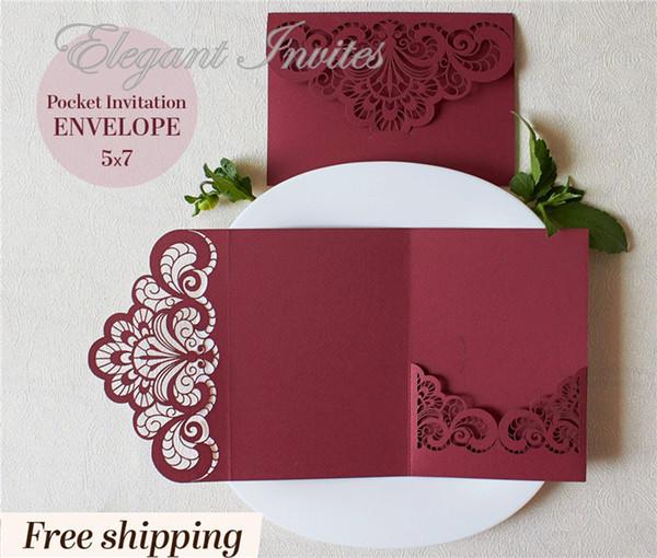 Convite do casamento de Borgonha, bolso do corte do laser de Borgonha, bolso do convite do casamento de Marsala, bolso de Lasercut 5x7, envelope Tri-Fold do envelope
