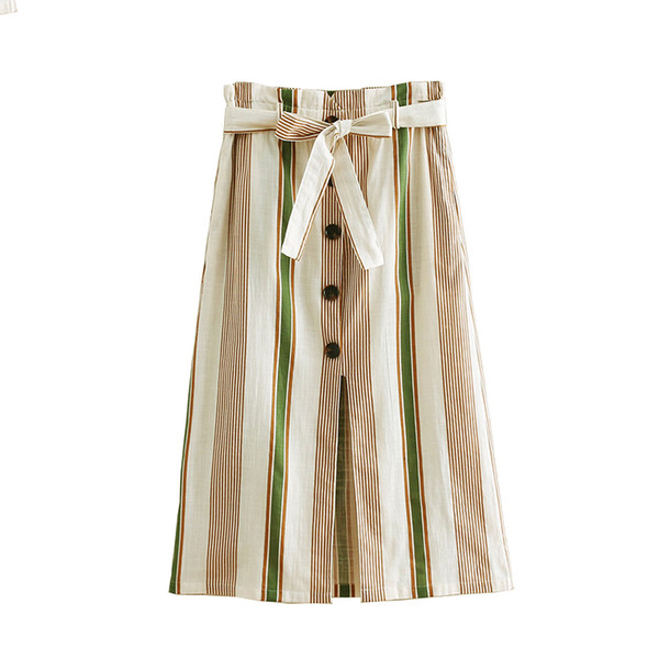 Striped A-Line Orange Single-Breasted Skirt Women 2019 Spring Summer Casual Min-Calf Skirts Cute Ladies Skirt Femme