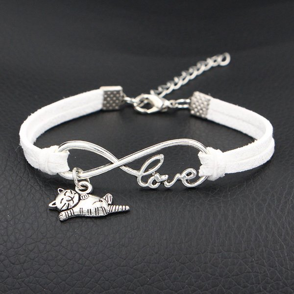 2018 New Fashion vintage sweet Infinity Love Cat Sign Pendant gift aesthetic bracelets & bangles white leather suede jewelry for women men
