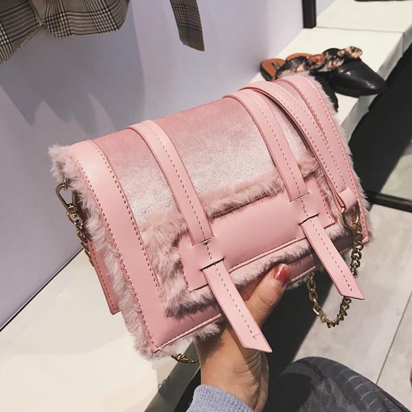 elegant female soft plush square bag 2019 fashion new quality pu leather women's designer handbag chain shoulder messenger bags