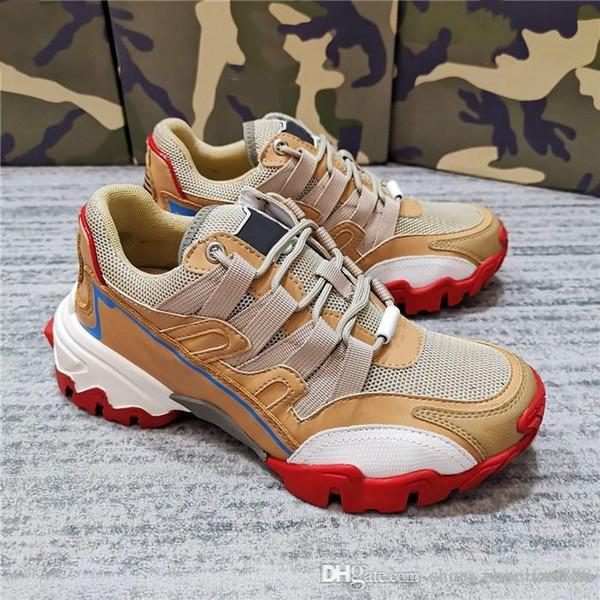 Vente chaude Cuir de vachette et tissus Chaussures de sport colorées épissées Chaussures de sport pour hommes et femmes à semelles épaisses