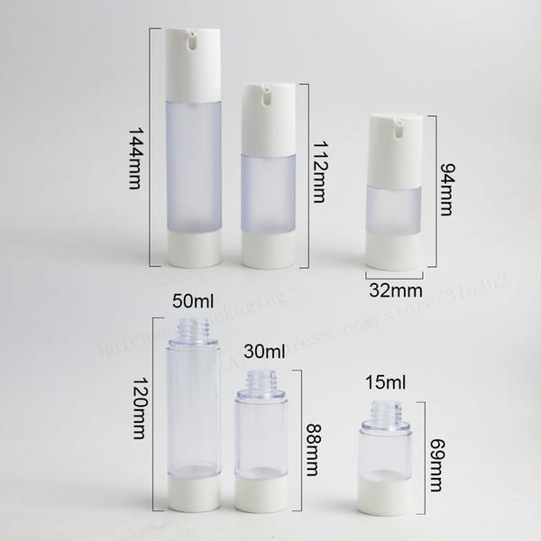 200 x 15 мл 30 мл 50 мл прозрачная морозильная безвоздушная бутылка легко переносится морозильный лосьон насос безвоздушные контейнеры для путешествий