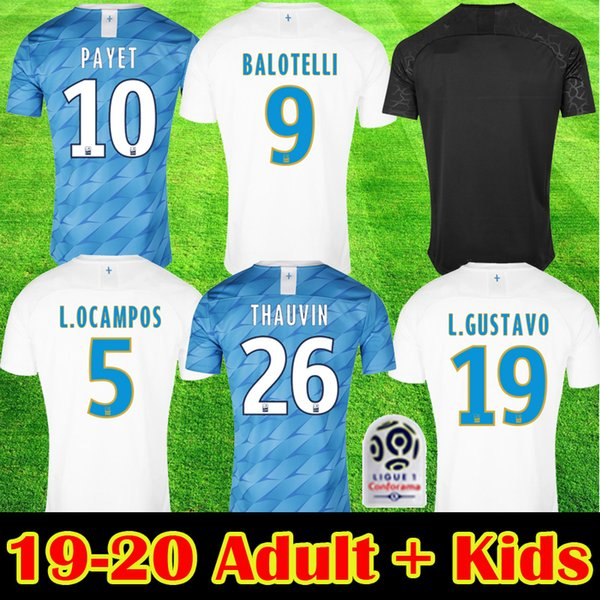 top popular 2019 2020 BALOTELLI THAUVIN Soccer Jerseys PAYET STROOTMAN L GUSTAVO THAUVIN Away Thrid Football Shirt 19 20 New Adult Kids Maillot de foot 2019