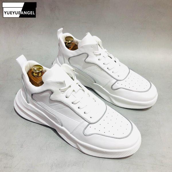 2019 Casual Lace Up Sapatos Brancos Homens Primavera Verão Respirável Altura Crescente Sneakers Top Quality Chunky Sapatos De Couro Masculino