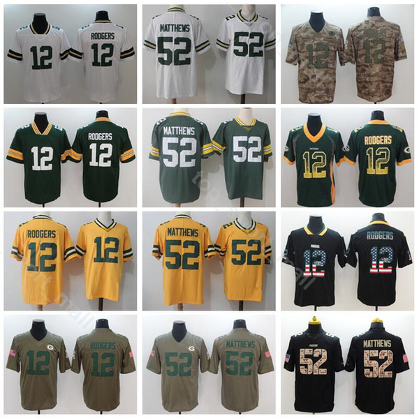 hot sale online 7c29f 522b2 2019 Green Bay Packers 52 Clay Matthews Jersey Men Football 12 Aaron  Rodgers Green White Vapor Untouchable Salute To Service Shadow Hyphenation  From ...