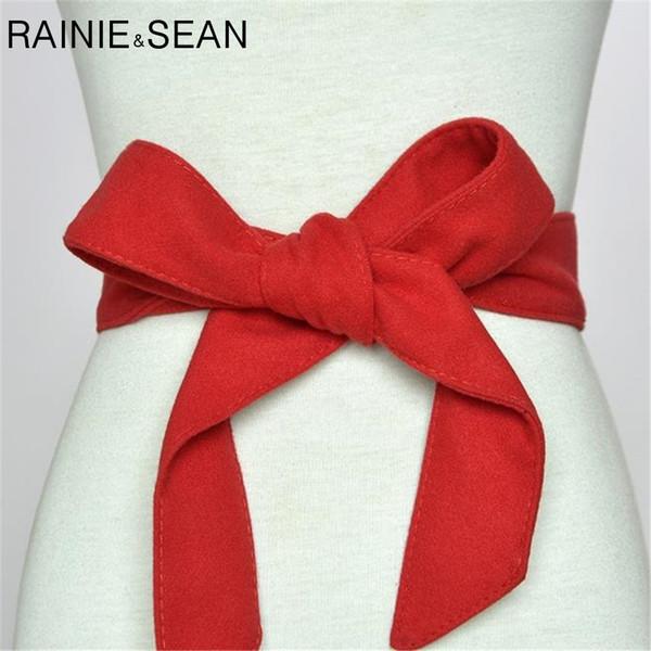 Rainie Sean Velvet Cinturones Para Las Mujeres Sólido Auto Lazo Arco Rojo Negro Invierno Señoras Correa de Cintura Correa de Cintura Femenina Accesorios C19041301
