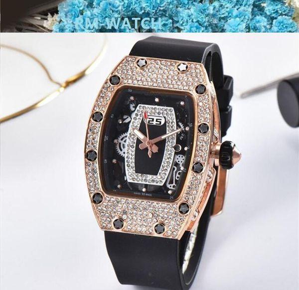 Девочка подарков Женские часы Часы Hombre новый дизайнер силиконовый ремешок женщин горный хрусталь часы женщины платье кварца алмаз леди наручные часы