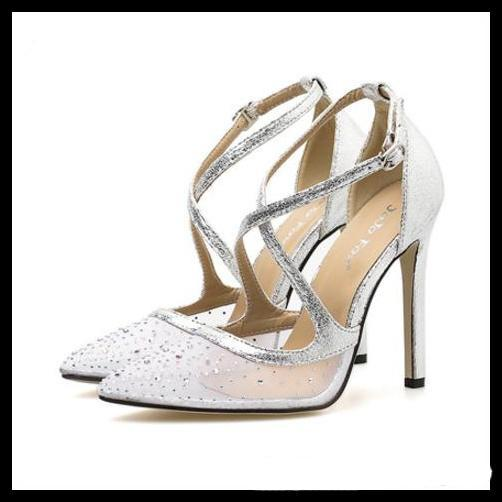Rhinestone de lujo de color beige con fondo de tacón alto y tacón alto puntiagudo bombas zapatos de boda nude negro tamaño 35 a 40