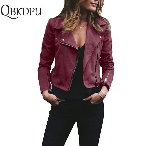 Klasik Kadınlar İnce chammy Deri Ceket Mont Zip Up motor Biker Uçuş Rahat retro punk rock Dış Giyim chic Chaqueta mujer Tops