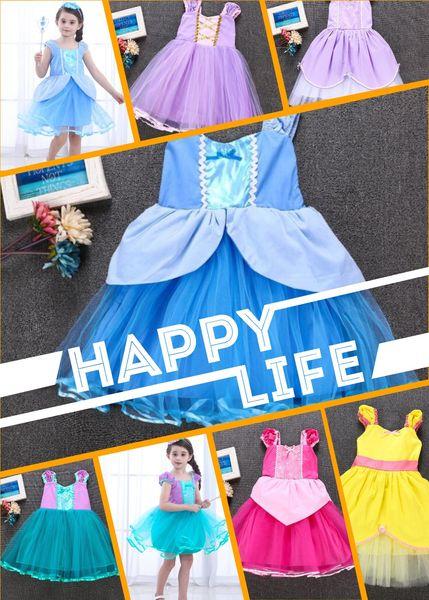 New Princess Girls Dress Toddler Girl Tulle Dresses with Ribbon Halloween Fashion Girls Costume Dress