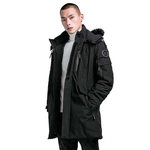 Männer Winterjacke Baumwolle Gepolsterte Dicke Warme Lange Dünne Männliche Mit Kapuze Mantel Winddicht Jugend Tasche Kleidung